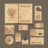 Colección de las tarjetas de visita con concepto del café libre illustration