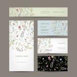 Colección de las tarjetas de visita, diseño floral Foto de archivo libre de regalías