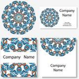 Colección de las tarjetas de visita Ornamento para su diseño con la mandala del cordón Fondo del vector Indio, árabe, adornos del ilustración del vector