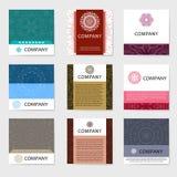 Colección de las tarjetas de visita Ornamento para su diseño con la mandala del cordón Fondo del vector Indio, árabe, adornos del Imágenes de archivo libres de regalías