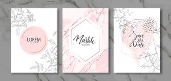 Colección de las tarjetas del lujo con la textura de mármol y las plantas a mano Fondo de moda del vector Sistema moderno de la t stock de ilustración
