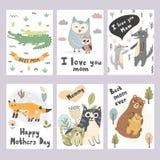 Colección de las tarjetas de felicitación del día de Mother's Impresiones lindas de los animales ilustración del vector