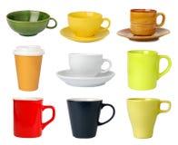 Colección de las tazas y de las tazas Foto de archivo