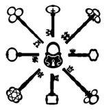 Colección de llaves de las siluetas, ejemplo del vector Foto de archivo