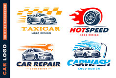 Colección de logotipos coche, servicio del taxi, lavado, reparación, competencias fotografía de archivo