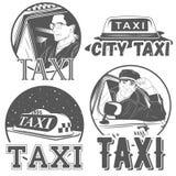 Colección de logotipos retros del taxi del vector stock de ilustración