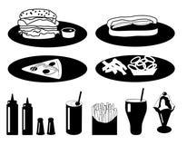 Colección de los alimentos de preparación rápida Fotos de archivo