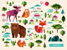Colección de los animales del bosque Foto de archivo