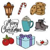 Colección de los artículos de la Navidad stock de ilustración