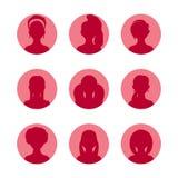 Colección de los avatares de la silueta de la gente Muchachas, mujer con diverso peinado Iconos rosados fijados Ejemplo del encan Fotos de archivo libres de regalías