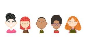 Colección de los avatares del vector de la gente Caras interesantes de la historieta libre illustration