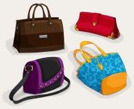 Colección de los bolsos de la mujer de la moda Fotografía de archivo libre de regalías