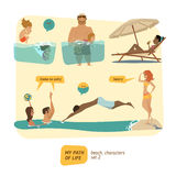 Colección de los caracteres del verano ilustración del vector