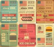 Colección de los carteles de los alimentos de preparación rápida Foto de archivo