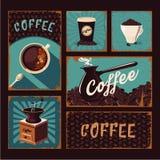 Colección de los carteles del vintage de Coffeeshop Muestras del vector del café Imagen de archivo