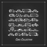Colección de los coches, bosquejo para su diseño ilustración del vector