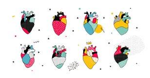 Colección de los corazones de los hombres en el estilo de Memphis stock de ilustración