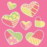 Colección de los corazones del remiendo Imagenes de archivo