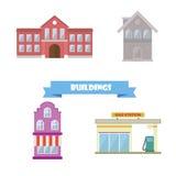 Colección de los edificios Escuela plana del diseño, casa, gasolinera Foto de archivo