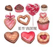 Colección de los ejemplos del día de tarjeta del día de San Valentín Fotos de archivo libres de regalías