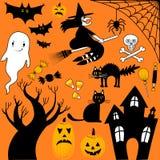 Colección de los elementos de Halloween Imágenes de archivo libres de regalías