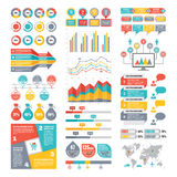 Colección de los elementos de Infographic - ejemplo del vector del negocio en estilo plano del diseño Fotos de archivo