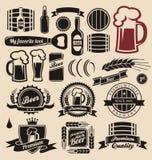 Colección de los elementos de la cerveza y del diseño de las bebidas stock de ilustración