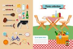 Colección de los elementos de la comida campestre Imagenes de archivo