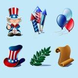 Colección de los elementos del diseño del Día de la Independencia Imagen de archivo libre de regalías