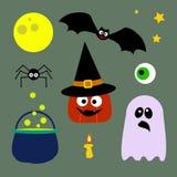 Colección de los elementos de Halloween Sistema de 9 elementos: calabaza, palo, luna, sombrero de la bruja, ojo, araña, estrellas imágenes de archivo libres de regalías