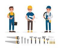 Colección de los elementos de la manitas, del fontanero, del capataz, del ingeniero y del constructor con diversas acciones de la stock de ilustración