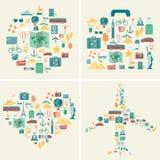 Colección de los fondos de las vacaciones de verano Días de fiesta y concepto de las vacaciones Iconos del recorrido Vector libre illustration
