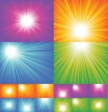 Colección de los fondos del rayo de sol stock de ilustración