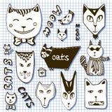 Colección de los gatos del garabato Caras dibujadas mano de la historieta Imagen de archivo