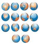 Colección de los globos del mundo Imagenes de archivo