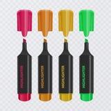 Colección de los highlighters brillantes y coloreados, marcadores realistas en el fondo transparente, ejemplo del vector stock de ilustración