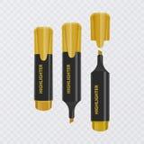 Colección de los highlighters brillantes y coloreados, marcadores realistas en el fondo transparente, ejemplo del vector libre illustration