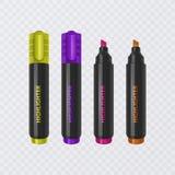Colección de los highlighters brillantes y coloreados, marcadores realistas en el fondo transparente, ejemplo del vector ilustración del vector