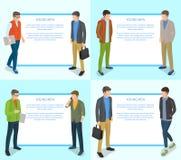Colección de los hombres jovenes de ejemplo en azul claro stock de ilustración