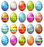 Colección de los huevos de Pascua en un fondo blanco stock de ilustración