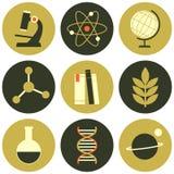 Colección de los iconos de la ciencia Fotografía de archivo