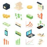 Colección de los iconos de la gestión de las actividades bancarias del análisis de las finanzas Imagenes de archivo