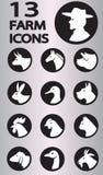 Colección de los iconos de la granja Foto de archivo
