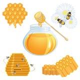 Colección de los iconos de la miel Imágenes de archivo libres de regalías