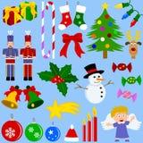 Colección de los iconos de la Navidad stock de ilustración