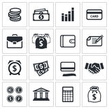 Colección de los iconos de las finanzas del dinero ilustración del vector