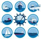 Colección de los iconos de los barcos Foto de archivo libre de regalías