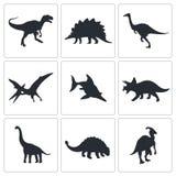 Colección de los iconos de los dinosaurios Fotos de archivo libres de regalías