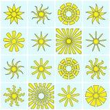 Colección de los iconos de Sun Fotos de archivo libres de regalías