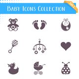 Colección de los iconos del bebé Fotos de archivo libres de regalías